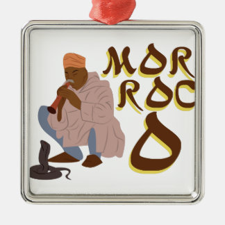 Morocco Snake Charmer Silver-Colored Square Decoration