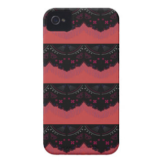 MOROCCO VINTAGE HANDDRAWN LACE BLACK RED iPhone 4 Case-Mate CASES