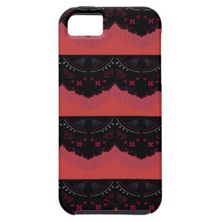 MOROCCO VINTAGE HANDDRAWN LACE BLACK RED iPhone 5 CASE