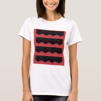 MOROCCO VINTAGE HANDDRAWN LACE BLACK RED T-Shirt