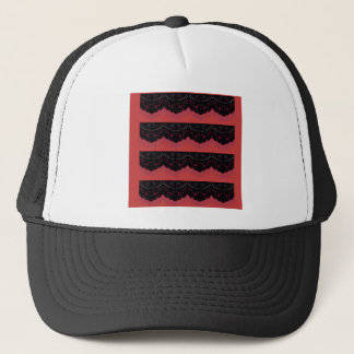 MOROCCO VINTAGE HANDDRAWN LACE BLACK RED TRUCKER HAT