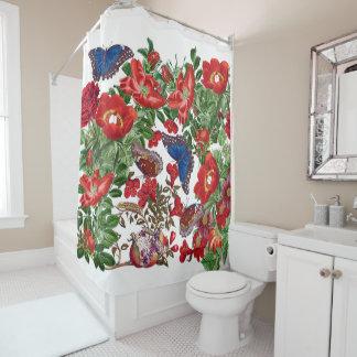 Morpho Butterflies Flowers Garden Shower Curtain