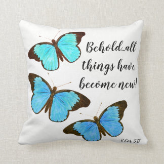 Morpho Butterflies Scripture Bible Throw Pillow