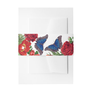 Morpho Butterfly Roses Flowers Floral Belly Band Invitation Belly Band