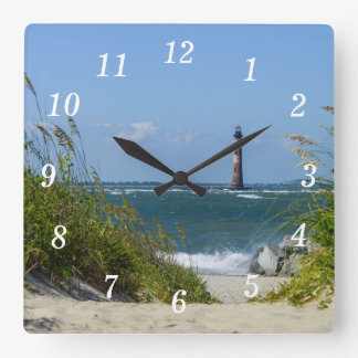 Morris Island Lighthouse Walkway Square Wall Clock