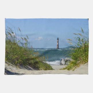 Morris Island Lighthouse Walkway Tea Towel