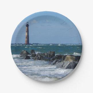 Morris Lighthouse Folly Beach Paper Plate