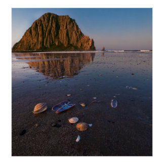 Morro Rock Reflecting In Wet Sand Poster