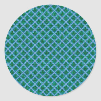 Morrocan Inspired in Blue and Green Round Stickers