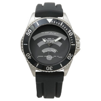 Morse code design s/s black rubber watch