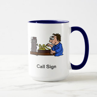 Morse Code Male Operator Brown Hair Mug  Customize