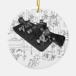 Morse Code Radio Key Schematic Ceramic Ornament