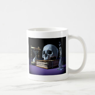 MORTALITY! (skull, tome, candle & hourglass) ~ Coffee Mug