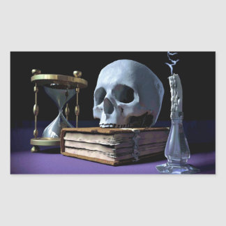 MORTALITY! (skull, tome, candle & hourglass) ~ Rectangular Sticker