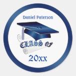 Mortar, diploma Class of Graduation Seal Round Sticker