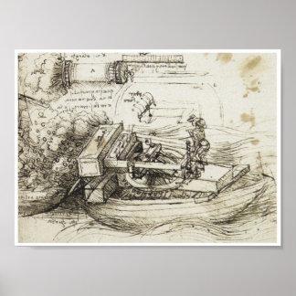 Mortar Firing from a Boat, Leonardo da Vinci, 1485 Poster
