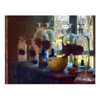 Mortar, Pestle and Bottles by Window Postcard