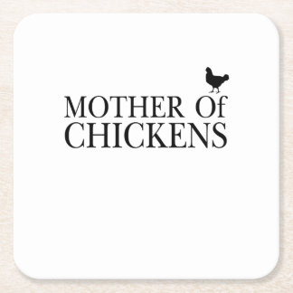 Morther Chickens Around Chicken Mom Pet Lover Square Paper Coaster