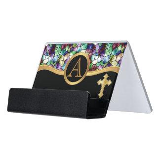 Mosaic Abstract Stain Glass | Golden Cross Desk Business Card Holder