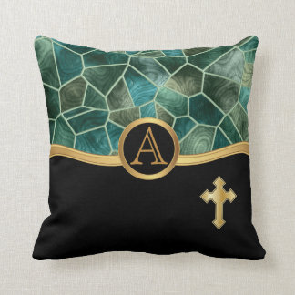 Mosaic Abstract Stain Glass with Cross Cushion