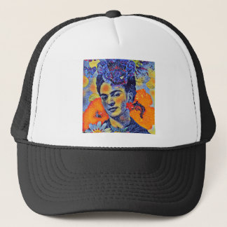 Mosaic Artist Woman with Flowers Trucker Hat
