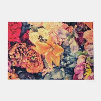Mosaic Autumn Flowers Door Mat