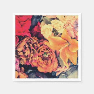 Mosaic Autumn Flowers Napkins Disposable Serviette