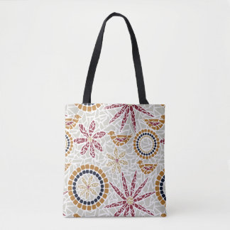 Mosaic Bird and Flower Tote Bag