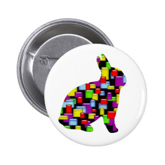mosaic bunny rabbit button