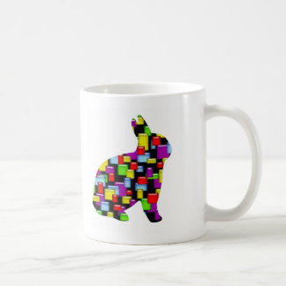 mosaic bunny rabbit coffee mug