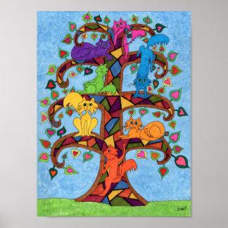 Mosaic Cat Tree of Life Poster