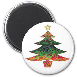 Mosaic Christmas Tree 6 Cm Round Magnet