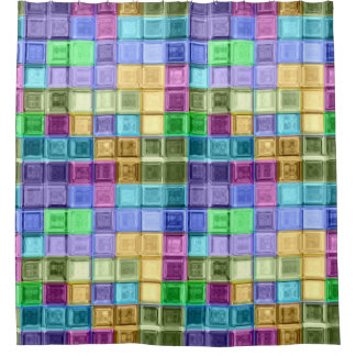 Mosaic Colorful Squares Shower Curtain