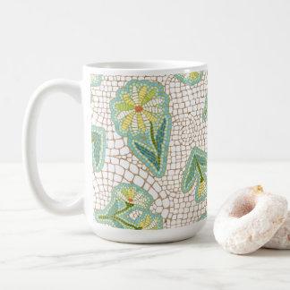 Mosaic Daisies White 11 oz Classic Mug