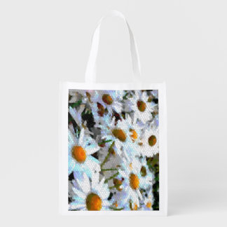 Mosaic Daisy Field Patterned Reusable Grocery Bag