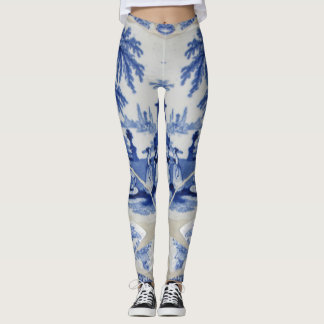 Mosaic Dutch Delft Blue woman's leggings