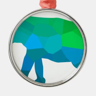 Mosaic Elephant 1 Metal Ornament
