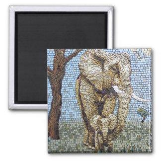 Mosaic elephant square magnet
