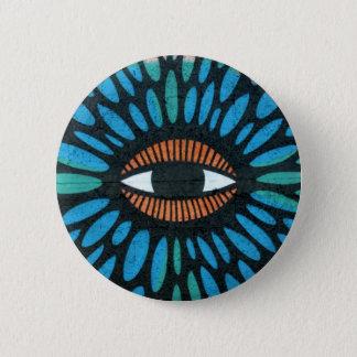 Mosaic Eye in Blue and Orange Background 6 Cm Round Badge