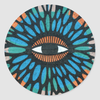 Mosaic Eye in Blue and Orange Background Stickers