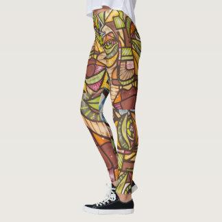 mosaic face leggings