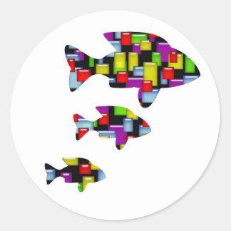 mosaic fish round sticker
