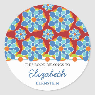 Mosaic Floral Bookplates Round Sticker