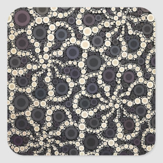 Mosaic Flower Petals Black Brown Tan Square Sticker