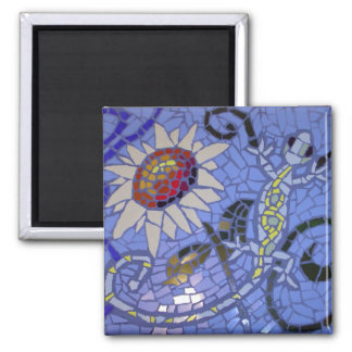 Mosaic Gecko and Sunflower on Blue Square Magnet
