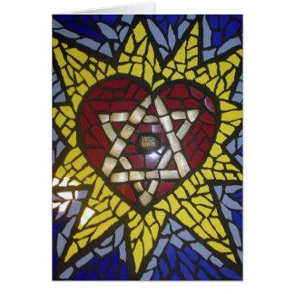 Mosaic Glowing Heart Star of David on Blue Card
