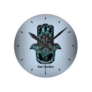 Mosaic Hamsa Hand Round Clock