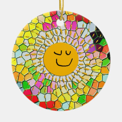 Mosaic Happy Face Sun Ornament