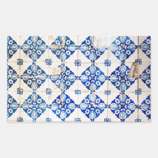 mosaic lisbon blue decoration portugal old tile rectangular sticker