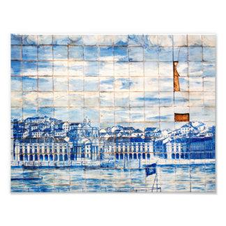 mosaic lisbon blue painting tile porcelain pattern photo print